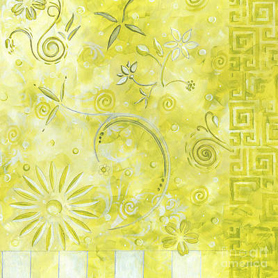 Coastal Decorative Citron Green Floral Greek Checkers Pattern Art Green Whimsy By Madart Art Print by Megan Duncanson