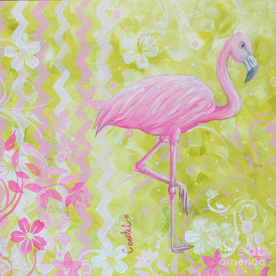 Coastal Decorative Pink Green Floral Chevron Pattern Art Flamingo Dance By Madart Original by Megan Duncanson