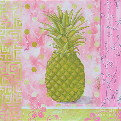 Coastal Decorative Pink Green Floral Greek Pattern Fruit Art Fresh Pineapple By Madart Original by Megan Duncanson
