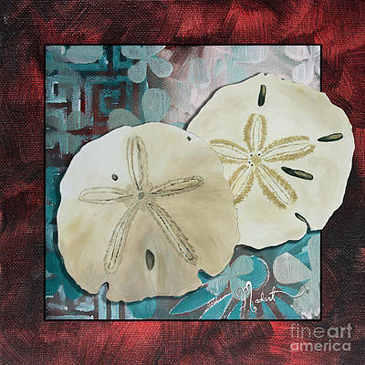 Coastal Decorative Shell Art Original Painting Sand Dollars Asian Influence I By Megan Duncanson Art Print by Megan Duncanson