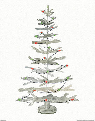 Coastal Holiday Tree II Red Art Print by Kathleen Parr Mckenna