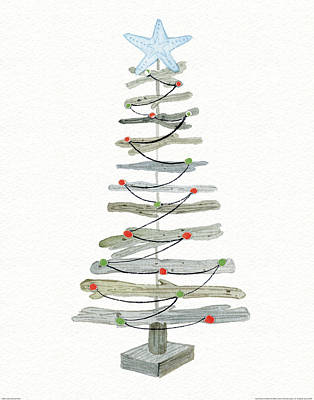 Coastal Holiday Tree IIi Red Art Print by Kathleen Parr Mckenna