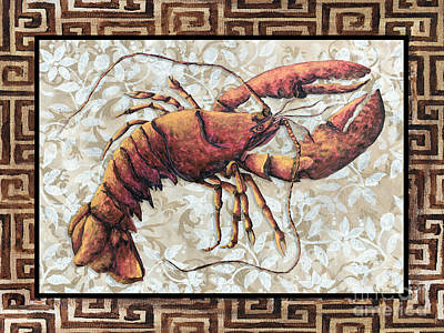 Coastal Lobster Decorative Painting Greek Border Design By Madart Studios Print by Megan Duncanson