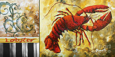 Coastal Lobster Decorative Painting Original Art Coastal Luxe Lobster By Madart Art Print by Megan Duncanson