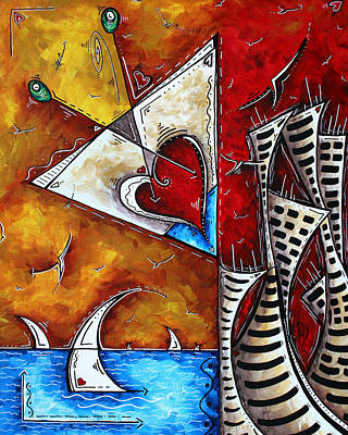 Coastal Martini Cityscape Contemporary Art Original Painting Heart Of A Martini By Madart Original by Megan Duncanson