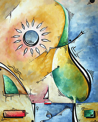 Baby Licensing Painting - Coastal Nautical Abstract Pop Art Original Painting Sailors Sunset By Madart by Megan Duncanson
