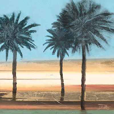 Coastal Palms On Aqua Art Print
