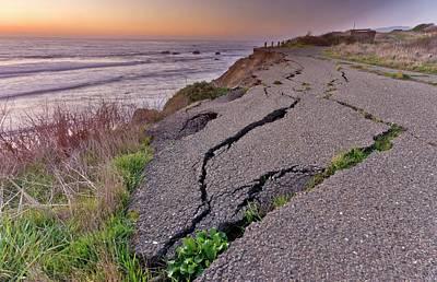 Coastal Road Erosion Art Print by Bob Gibbons