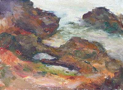 Painting - Coastal Rocks At Yachats - Original Seascape Painting by Quin Sweetman