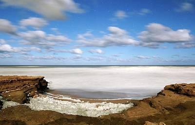 Moonlit Night Photograph - Coastal Sea Foam by Luis Argerich
