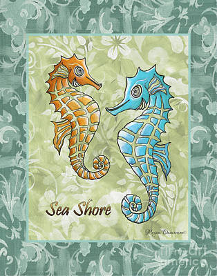Coastal Sea Horse Painting Whimsical Damask Pattern Sea Shore Print by Megan Duncanson