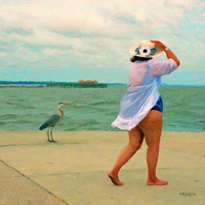 Fat Women On Beach Wall Art - Photograph - Coastal Seashore Bird Woman - Double Take by Rebecca Korpita