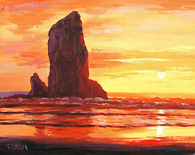 Oregon Painting - Coastal Sunset by Graham Gercken