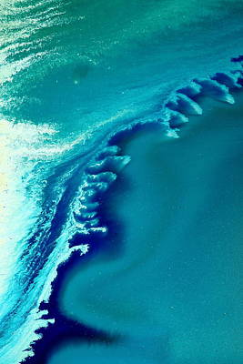 Coastal Surf Blue Abstract Waves By Kredart Art Print by Serg Wiaderny