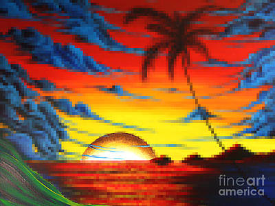 Coastal Tropical Abstract Colorful Pixel Art Digital Painting Compilation Tropical Bliss By Madart Art Print by Megan Duncanson
