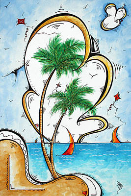 Coastal Tropical Art Contemporary Sailboat Kite Painting Whimsical Design Summer Daze By Madart Original
