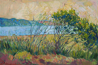 Print featuring the painting Coastal View by Erin Hanson