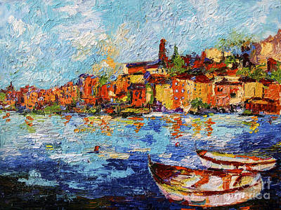 Painting - Coastal Village And Boats Italy by Ginette Callaway