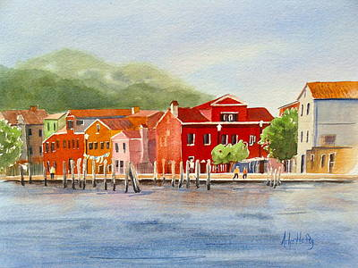 Painting - Coastal Village by Arlys Hefty