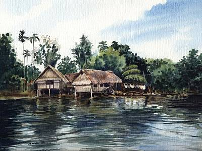Papua Painting - Coastal Village by Sarah Kovin Snyder