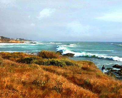 Cambria Painting - Coastal Waves Roll In To Shore by Elaine Plesser