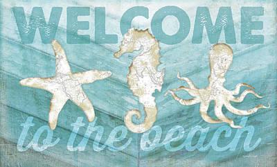 Reclaimed Wood Wall Art - Painting - Coastal Welcome by Jennifer Pugh