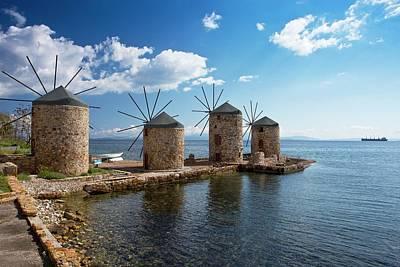 Chios Photograph - Coastal Windmills by Bob Gibbons