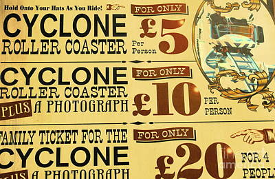 Roller Coaster Photograph - Coaster Tickets by Sophie Vigneault