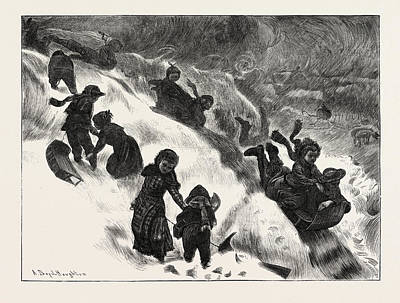 Coasting Or Tobogganing At Omaha Art Print