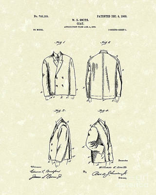 Drawing - Coat 1903 Patent Art by Prior Art Design