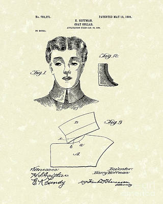 Drawing - Coat Collar 1904 Patent Art by Prior Art Design