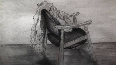 Empty Chairs Drawing - Coat In The Empty Chair by Marjudy Royo