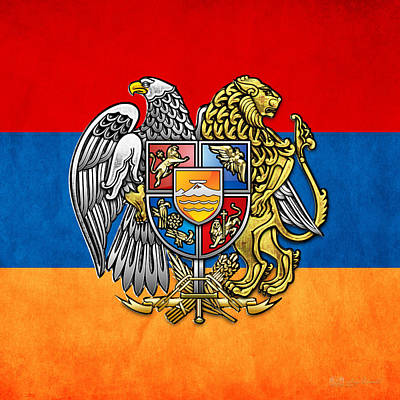 Digital Art - Coat Of Arms And Flag Of Armenia by Serge Averbukh