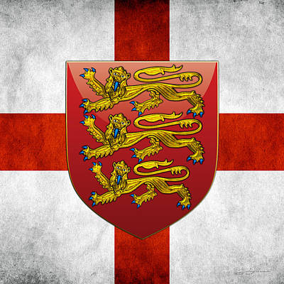 Digital Art - Coat Of Arms And Flag Of England by Serge Averbukh