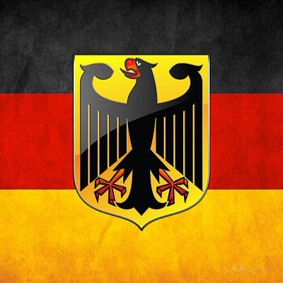 Digital Art - Coat Of Arms And Flag Of Germany by Serge Averbukh