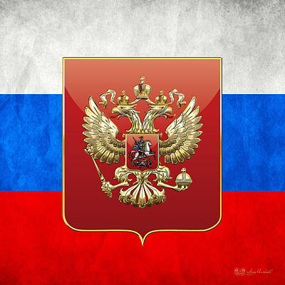 Coat Of Arms And Flag Of Russia Art Print by Serge Averbukh