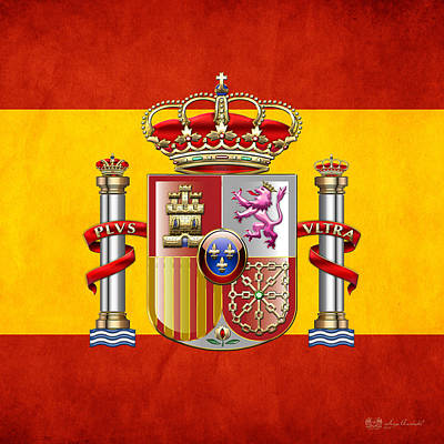 Digital Art - Coat Of Arms And Flag Of Spain by Serge Averbukh