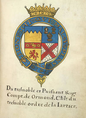 Coat Of Arms Of Thomas Butler Art Print by British Library