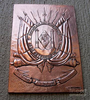 Metal Embossing Relief - Coat Of Rio Grande Do Sul by Cacaio Tavares