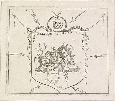 Tears Drawing - Coat With Broken Crowns And A Torn Banner Of The Rhine by Hermanus Fock