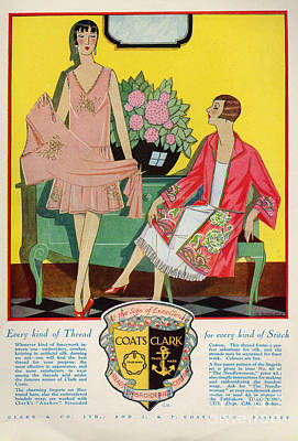 Coats And Clark  1920s Uk Art Deco Art Print by The Advertising Archives
