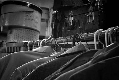 Coats Hatboxes And A Trunk - Bw Art Print
