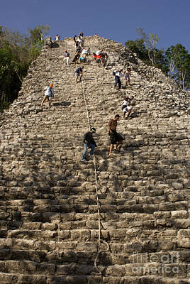 Photograph - Coba Pyramid Climbers Mexico by John  Mitchell