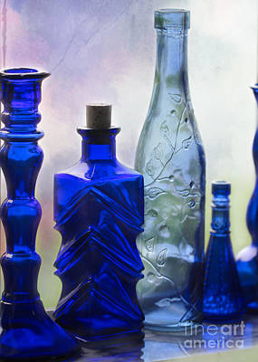 Photograph - Cobalt Blue Bottles Too by Sabrina L Ryan