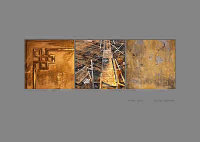 Photograph - Cobalt Grey Triptych Image Art by Jo Ann Tomaselli