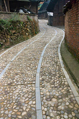 Cobbled Street In The Miao Village Art Print by Keren Su