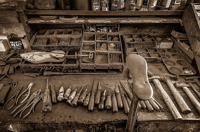 Shoe Repair Photograph - Cobblers Tools Bw by David Morefield