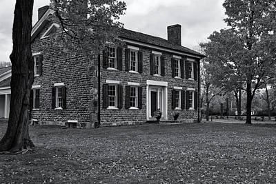 Michigan Farmhouse Photograph - Cobblestone Farm In Fall-bw by Rachel Cohen