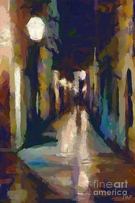 Minimalism Painting - Cobblestone Nighttime Street by Dragica  Micki Fortuna