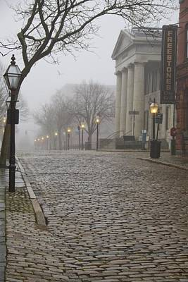 Photograph - Cobblestone Street In Fog by Paul and Janice Russell